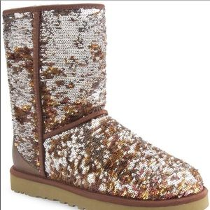 UGG brown/ gold classic short cosmos sequin boots